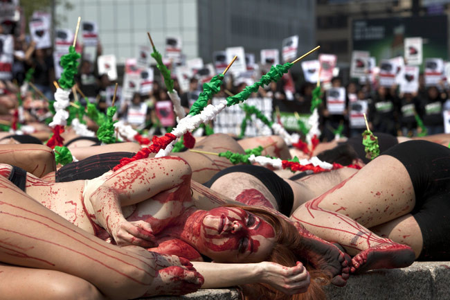 Animal activists lie on the ground during a protest against bullfighting in Colombia. © India Today.