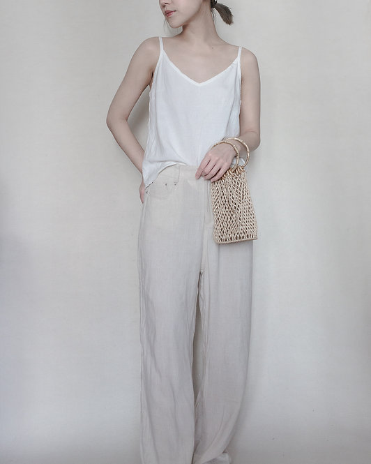 LINEN STRAIGHT TROUSERS