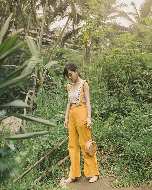 SUNFLOWER EMBROIDERED LINEN JUMPSUIT