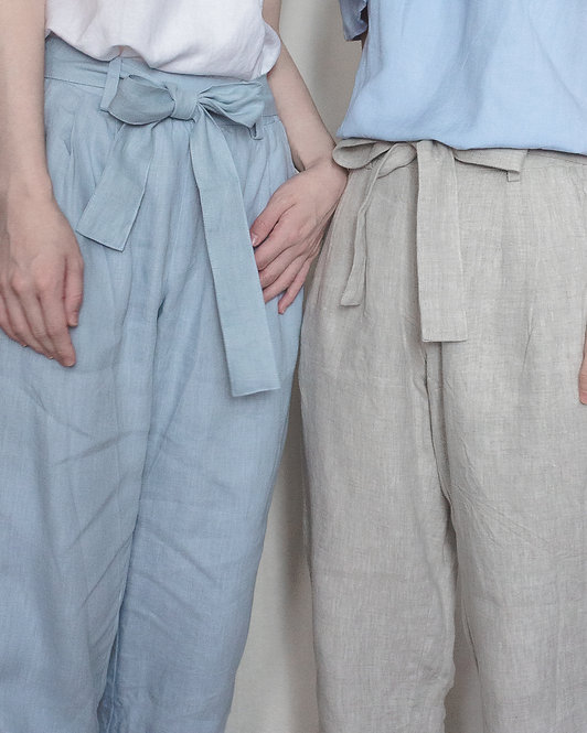 LINEN TEXTURED TROUSERS // NATURAL