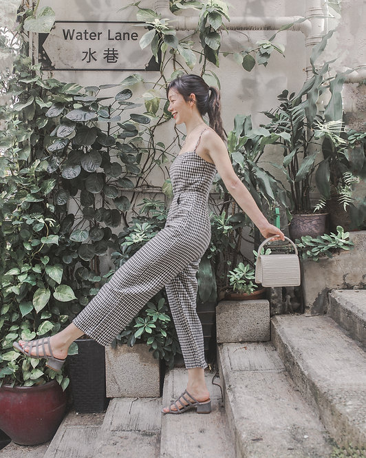 LINEN GINGHAM STRAPPY JUMPSUIT