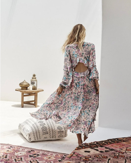 Spell     SAYULITA FRILL GOWN IN MUSK