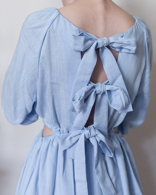 AIRY BOWS DRESS // BLUE