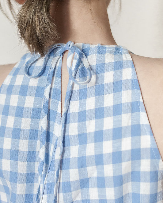 LINEN GINGHAM V-NECK JUMPSUIT
