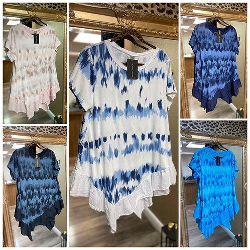 Tie-Dye Frill Bottom T-Shirt