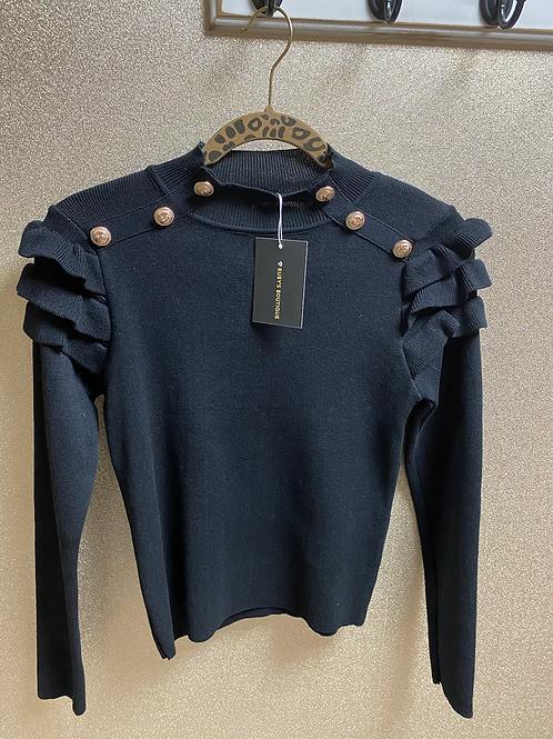 Gold Button Skinny Knit