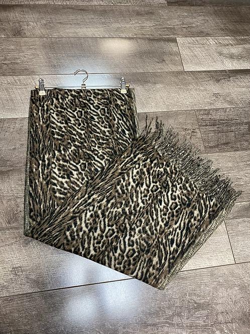 Brown Leopard Fleece Scarf