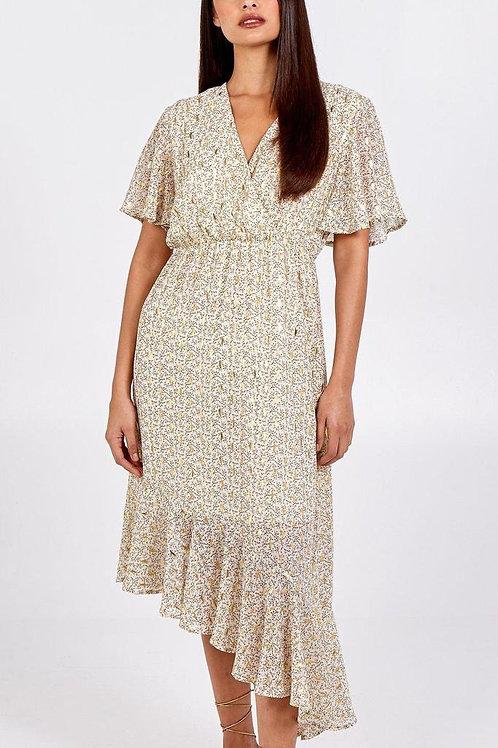 V-Neck Asymmetric Gold Print Dress