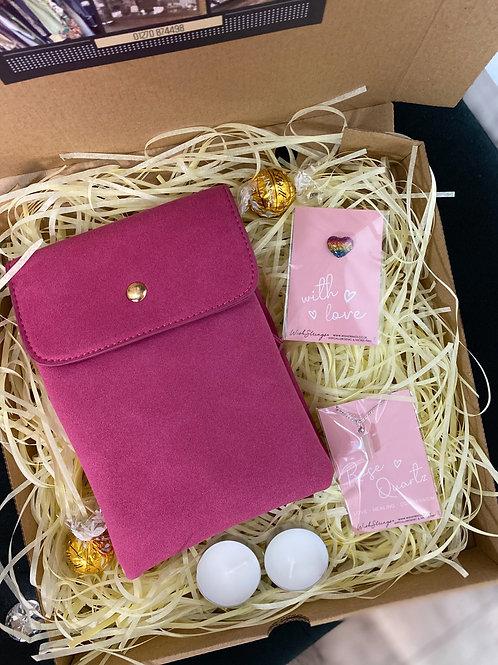 Pink Bag & Rose Quartz Necklace Gift Box