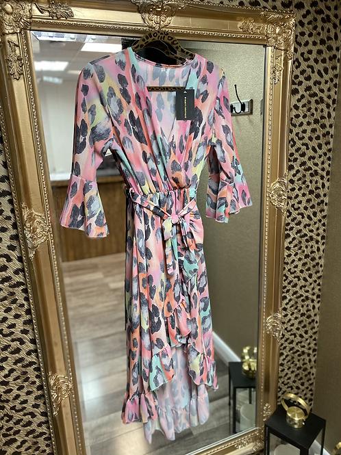 Leopard Dip Hem Frill Dress