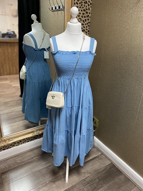 Shirred Tiered Midi Dress