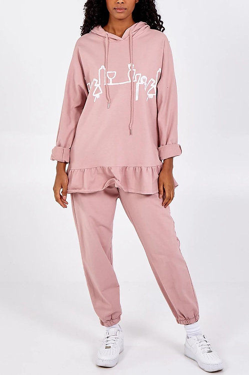 Abstract Print Hooded Lounge Suit