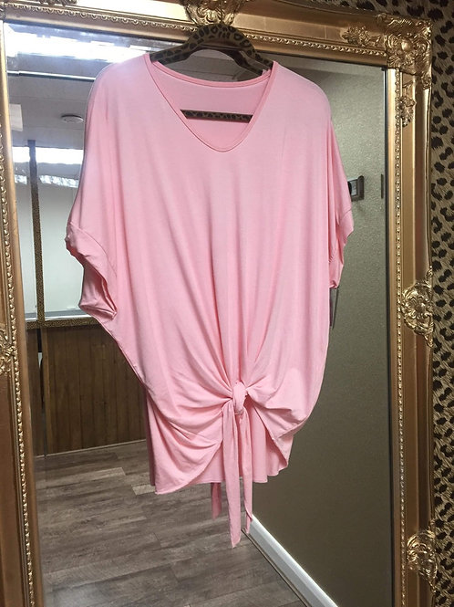 Tie Front T-Shirt - Soft Pink