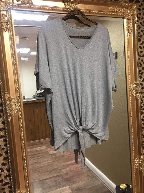Tie Front T-Shirt - Grey