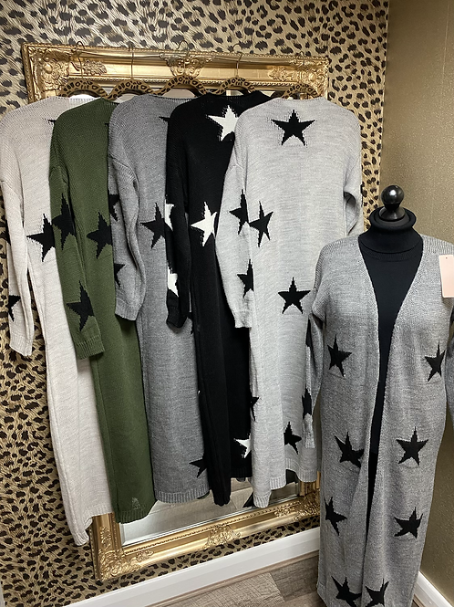 Star Long Knitted Cardigan