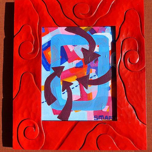 Swirly Red framed art