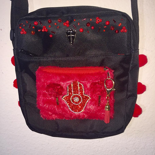 Cross-over bags: Fuzzy red pocket w/good luck hamsa & red trim