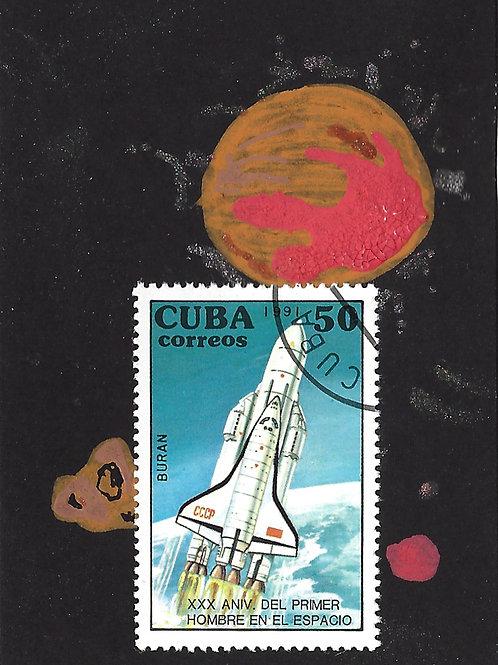 Space No. 6 (Mini Collage Art Card)