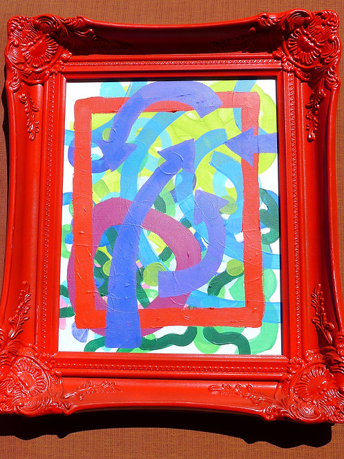 Red framed art