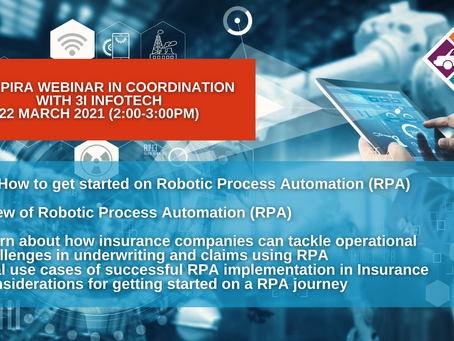 INVITATION TO FREE PIRA WEBINAR IN COORDINATION WITH 3i INFOTECH 22 March 2021 (2:00-3:00PM)