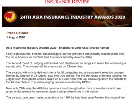 Courtesy of AIR: NatRe lands as Finalist at the Asia Insurance Industry Awards 2020