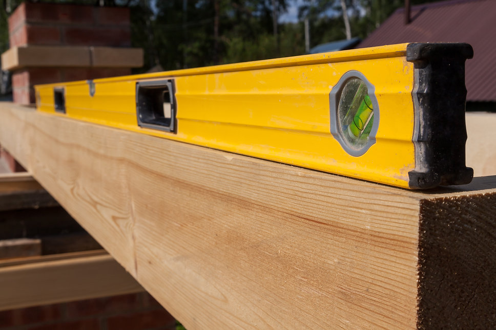 A wooden beam made of fresh timber with