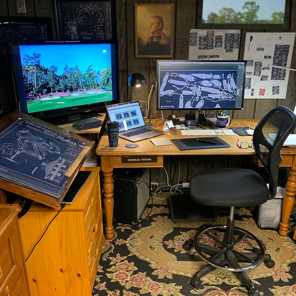 Ballpark Blueprints, stadium art, home office, thomas young, golf course architecture