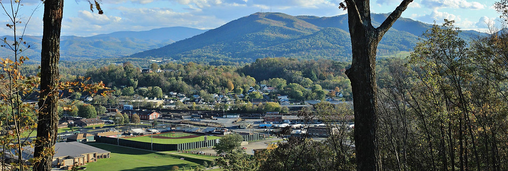 View of Buffalo Mountain and TVA Credit Union Ballpark from Tannery Knobs Mountain Bike Park in Johnson City TN