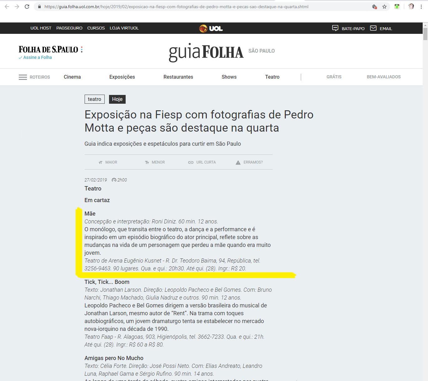 Folha de São Paulo_Espetáculo MÃE