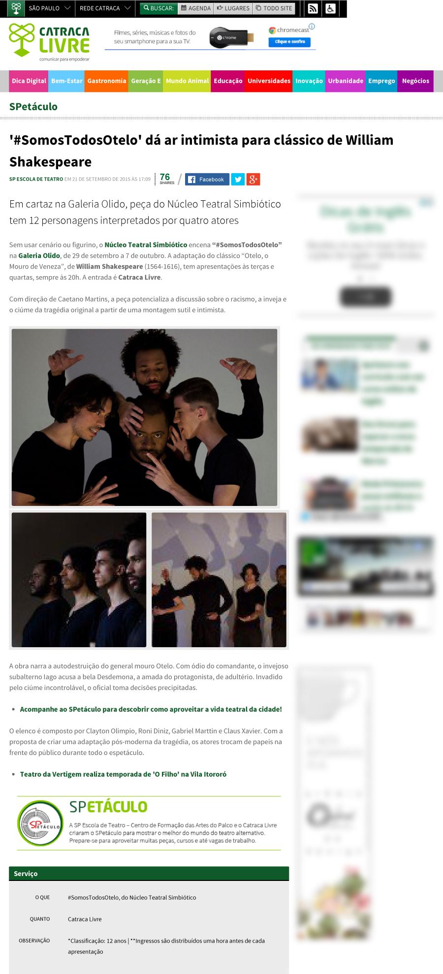 2015-09 #SomosTodosOtelo no Site Catraca Livre