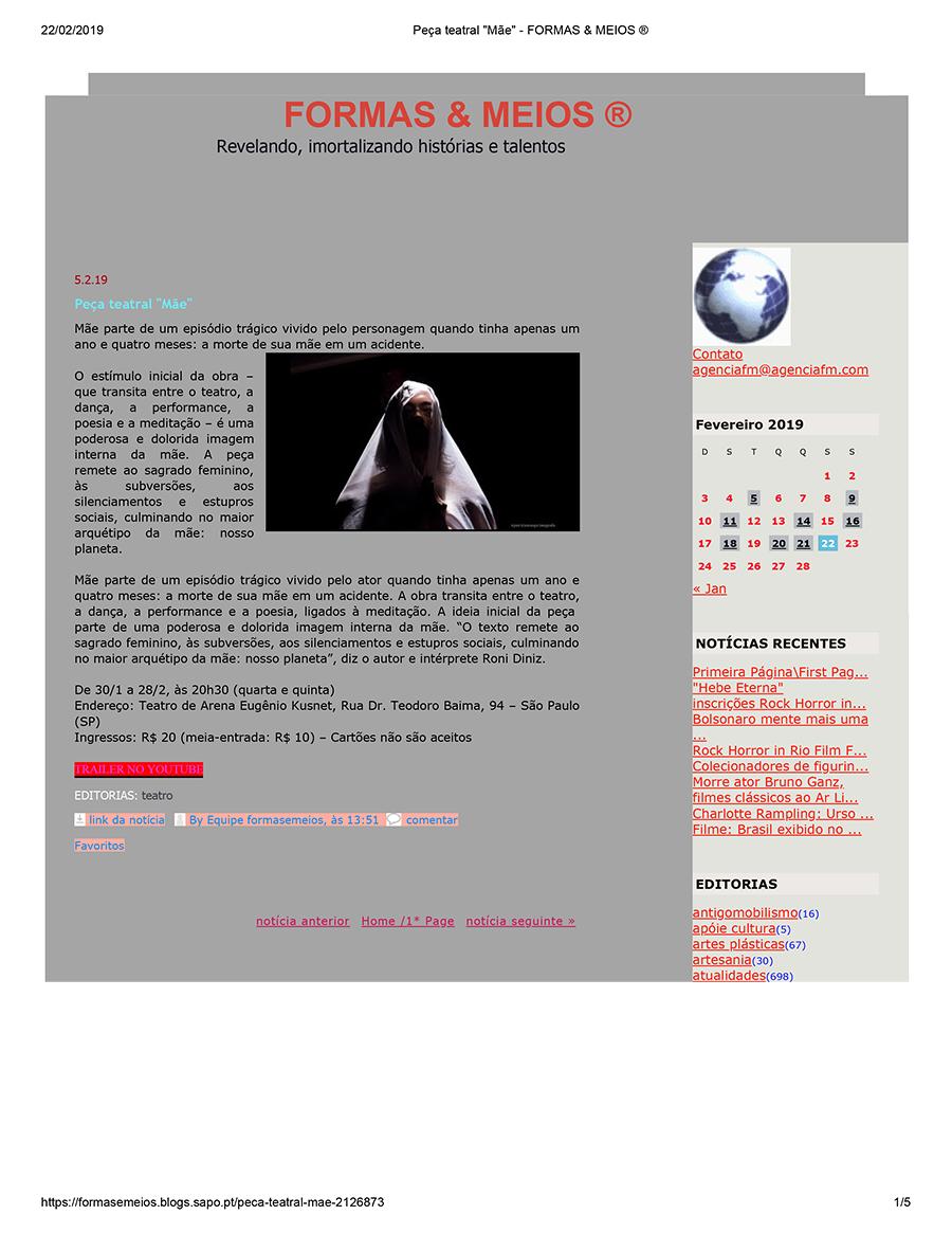 Peça teatral _Mãe_ - FORMAS & MEIOS_Espe