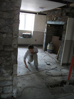 Old oak parquet flooring needed work
