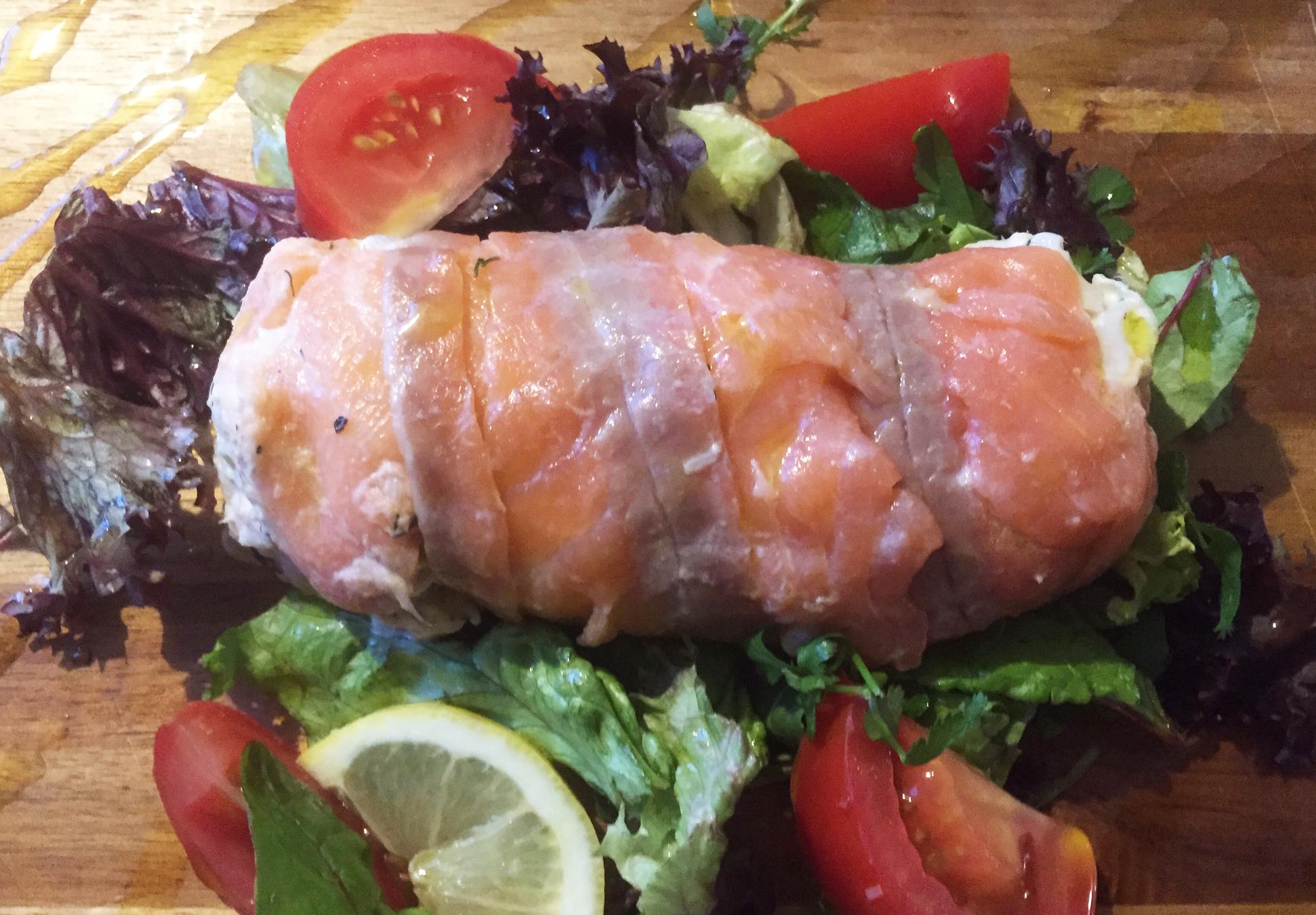Smoked salmon roulade