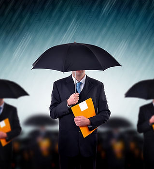 Businessmen with Umbrellas
