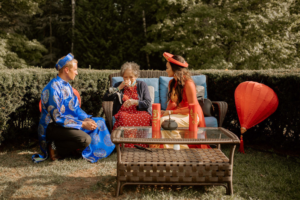 Vietnamese tea ceremony with the bride's grandmother.