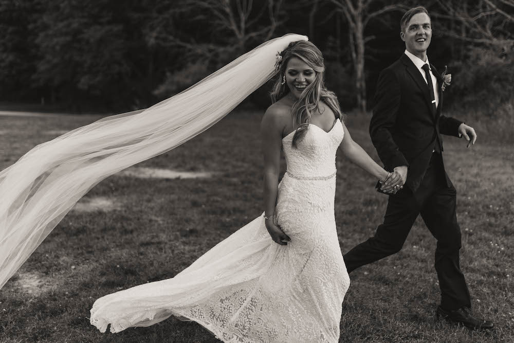 Black and white photo of a bride and groom on their wedding day in Michigan.