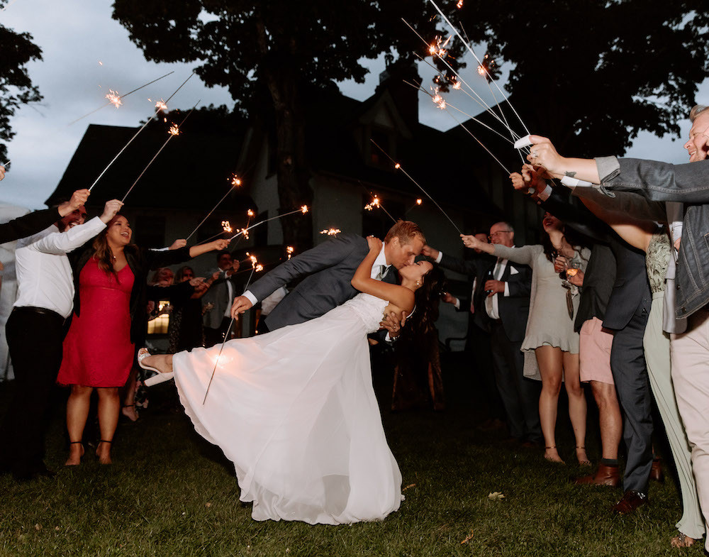 Wedding sparkler exit at an American-Vietnamese wedding.