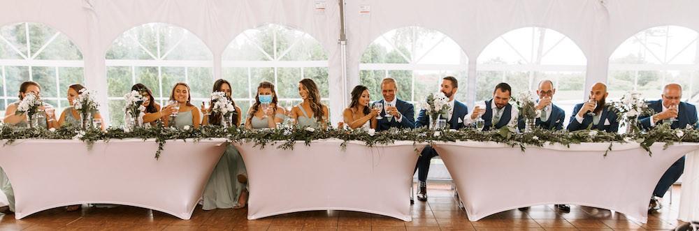 Wedding reception dinner table setup.