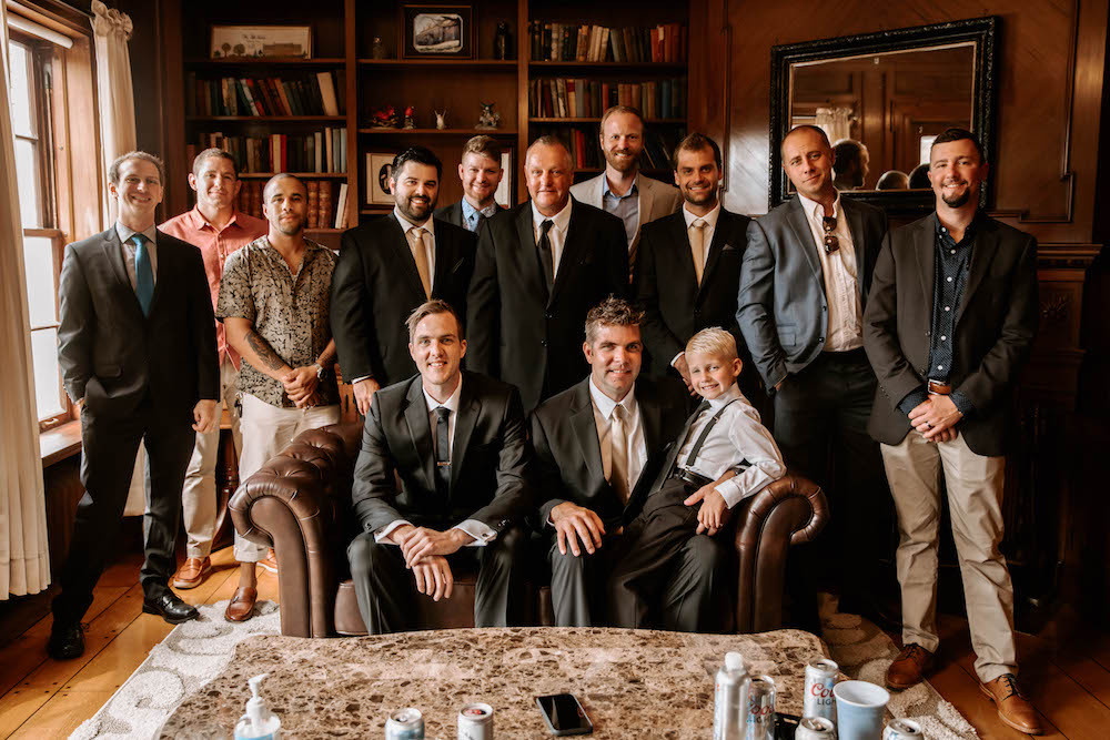 Groom and groomsman photo at the Felt Estate in Holland, MI.