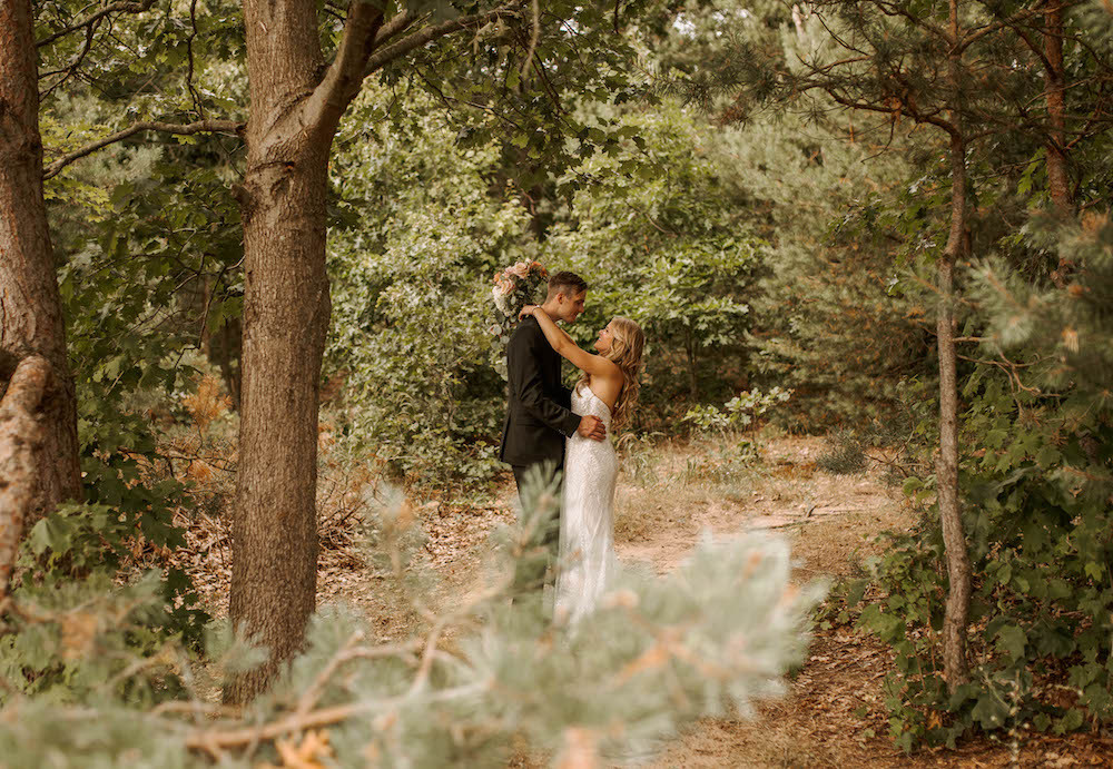 Bride and groom portraits in Michigan captured by Andi B Photo.