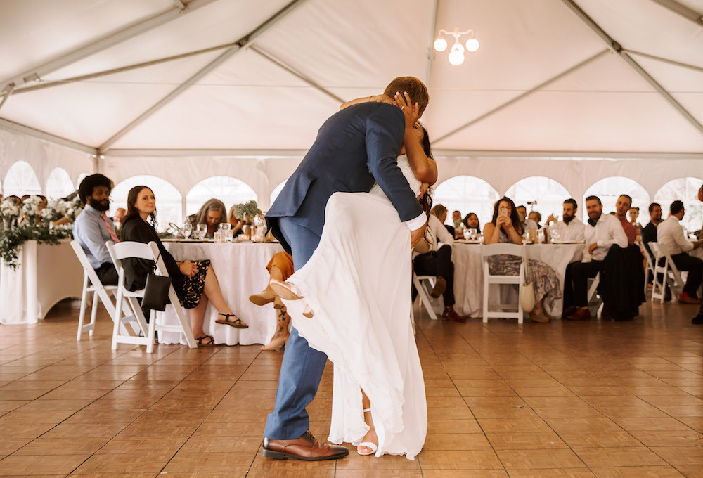 Bride and groom first dance at their American-Vietnamese wedding.
