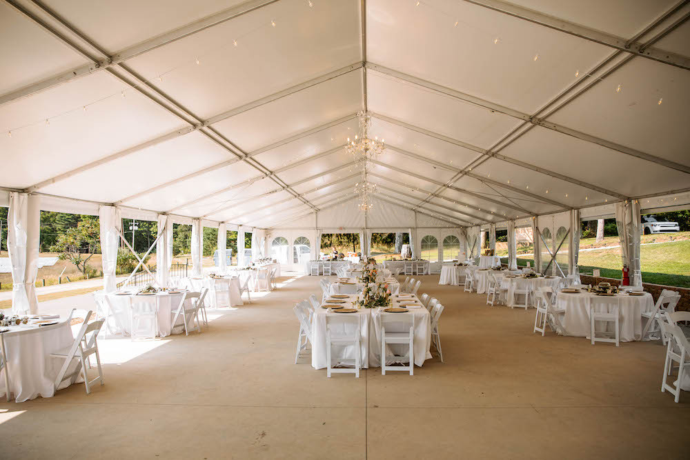 Wedding reception and dinner setup at the Felt Estate in west Michigan.