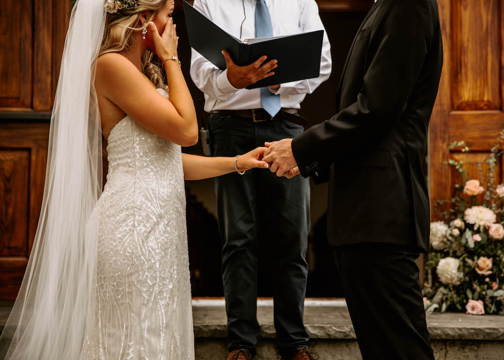 Bride and groom at the altar on their wedding day.