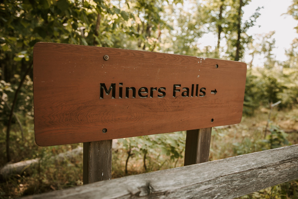 Miners Falls, MI sign and elopement location.