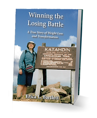 Cover of my memoir, with me standing at the summit of Mt. Katahdin
