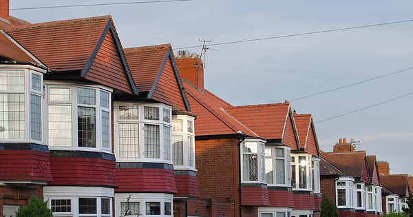 Negative equity. Row of terrace houses in the UK.