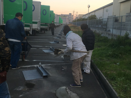 伊丹市 運送会社 トラックタイヤ留め交換工事