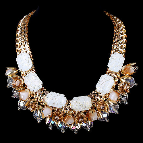 Chunky Bedazzled Beige Necklace