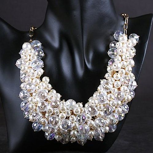 White Handmade Pearl Crystal Necklace