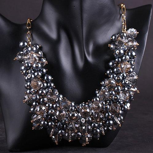 Ebony Handmade Crystal Pearl Necklace
